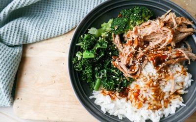 Teriaky Pulled Pork med grønne grønnsaker og ris
