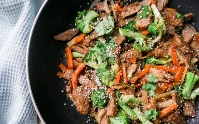 Sesamwok med grønnsaks-kjøttboller