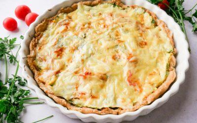 Ricotta og spinat pai med saltbakte cherrytomater